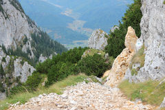 Piatra Craiului. National Park in Romania - hiking trail to Piatra Mica in Southern Carpathians stock photos