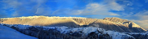 Panoramic view Piatra Craiului Mountain,Romania. Piatra Craiului Mountain, view from Pestera village, Brasov County, Romania stock images