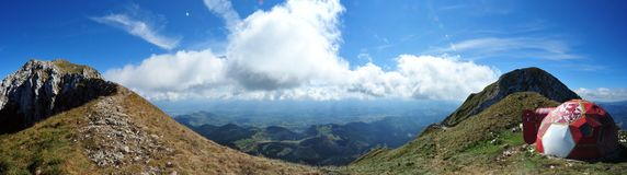 Piatra Craiului mountains - La Om peak shelter. Panoramic view over the following edge from La Om peak in Piatra Craiului massive royalty free stock photography