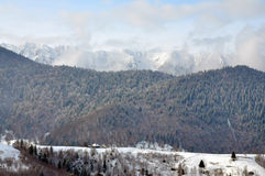 Piatra Craiului winter landscape Romania. Winter Panoramic view of Piatra Craiului Mountains / Romania Stock Images