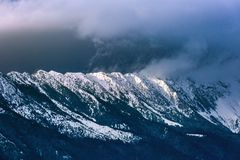 Piatra Craiului winter mountain ridge landscape Royalty Free Stock Images