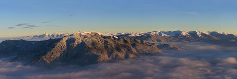 Piatra Mare,Ciucas and Baiului mountains panorama Royalty Free Stock Photo