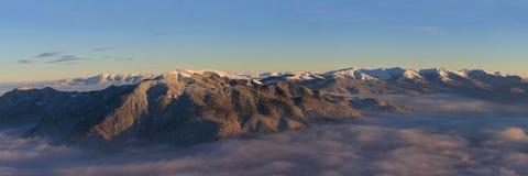 Piatra Mare,Ciucas and Baiului mountains panorama. Winter panorama of Ciucas, Piatra Mare and Baiului mountains Royalty Free Stock Photo