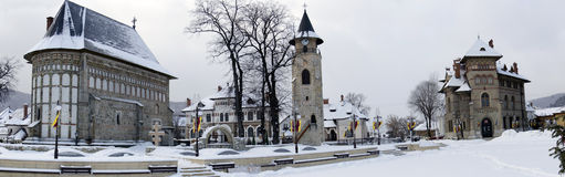 Piatra Neamt Medieval Complex, panorama stock images