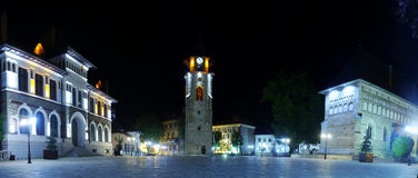 Piatra Neamt at night. Ancient Stephen the Great Tower and Church from Piatra Neamt, Romania Stock Photography