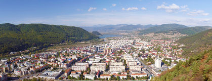 Piatra Neamt - panorama. Panoramic view over the city of Piatra Neamt. Because of its privileged location in the Eastern Carpathian mountains, Piatra Neamt is Royalty Free Stock Photo