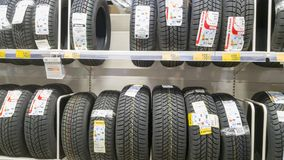 Tires in a shop Royalty Free Stock Image