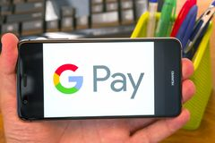 Google pay on mobile royalty free stock photos