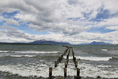 Piattaforma antica di Puerto Natales Fotografie Stock Libere da Diritti