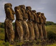Piattaforma cerimoniale di Ahu Akivi, isola di pasqua immagini stock libere da diritti