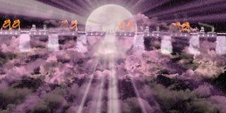 Piattaforma con il cielo scuro rosa Fotografie Stock