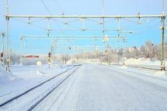 Piattaforma della ferrovia di inverno Fotografia Stock Libera da Diritti