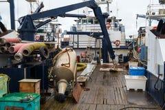 Piattaforma di barca di pesca professionale Fotografie Stock Libere da Diritti