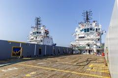 Piattaforma di carico della nave Immagini Stock