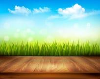Piattaforma di legno davanti ad erba verde ed a cielo blu Fotografia Stock
