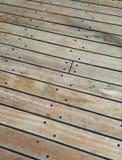 Piattaforma di legno della nave della plancia Fotografia Stock Libera da Diritti