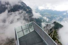 Piattaforma di osservazione di Alpspix in nebbia pesante Le alpi bavaresi Fotografia Stock Libera da Diritti