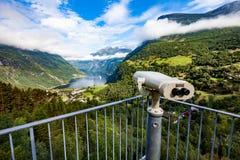 Piattaforma di osservazione dell'allerta del punto di vista del fiordo di Geiranger, Norvegia Fotografia Stock