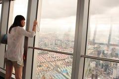 Piattaforma di osservazione di SWFC a Schang-Hai Fotografia Stock Libera da Diritti