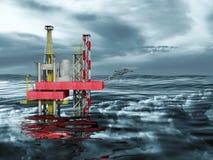 piattaforma di perforazione, oceano e nubi dell'impianto offshore 3d Fotografia Stock Libera da Diritti