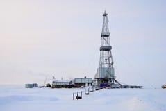 Piattaforma di produzione di inverno Fotografie Stock