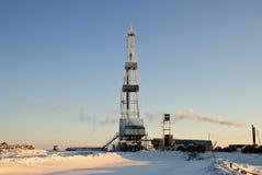 Piattaforma di produzione di inverno Fotografia Stock