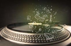Piattaforma girevole che gioca musica classica con gli strumenti estratti icona Immagine Stock Libera da Diritti