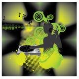 Piattaforma girevole di musica poster.DJ Illustrazione Vettoriale