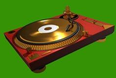 Piattaforma girevole dorata del DJ di musica Immagine Stock