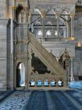 Piattaforma minbar decorata dorata floreale di marmo bianca della moschea di Nuruosmaniye, Costantinopoli, Turchia Fotografie Stock Libere da Diritti