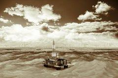 Piattaforma petrolifera nell'oceano Fotografia Stock