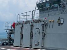 Piattaforma superiore della nave da guerra Fotografia Stock Libera da Diritti