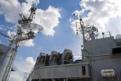Piattaforma superiore di una nave da guerra fotografia stock