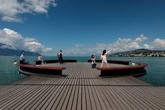 Piattaforma Sur Mer sul lago Lemano Immagini Stock Libere da Diritti