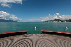 Piattaforma Sur Mer sul lago Lemano a Montreux immagine stock