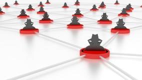 Piattaforme della rete del pirata informatico di concetto di Darknet collegate Fotografia Stock Libera da Diritti