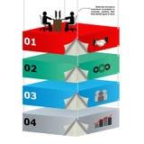 piattaforme sopraelevate 3d con i lavoratori per l'identificazione di affari Immagini Stock