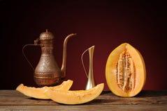 Piatti arabi e melone fresco Immagine Stock Libera da Diritti