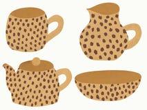 Piatti beige con la stampa del leopardo illustrazione di stock