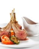 Piatti caldi della carne - agnello con l'osso Fotografia Stock