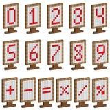 Piatti colorati con i numeri ed i simboli matematici Fotografia Stock Libera da Diritti