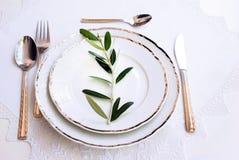 Piatti con una forcella d'argento, cucchiaio, cucchiaio di dessert Fotografia Stock Libera da Diritti