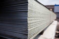 Piatti d'acciaio a costruzione Fotografie Stock