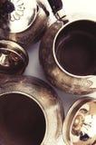 Piatti d'argento messi Fotografie Stock