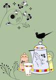 Piatti decorativi con l'uccello Fotografia Stock Libera da Diritti
