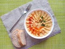 Piatti dei ceci hummus Cucina del Medio-Oriente magra immagine stock