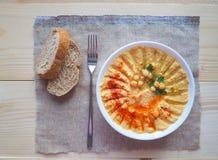 Piatti dei ceci hummus Cucina del Medio-Oriente magra fotografie stock
