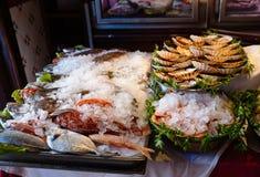 Piatti dei frutti di mare al ristorante Immagine Stock Libera da Diritti