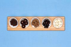 Piatti del degustatore del cioccolato assortito Fotografie Stock
