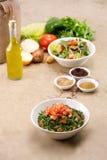 Piatti del fattouch arabo tradizionale e del tabulé dell'insalata su un fondo rustico Fotografia Stock